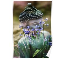 Buddha with Flower Asia Blooms Poster