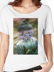 Buddha with Flower Asia Blooms Women's Relaxed Fit T-Shirt