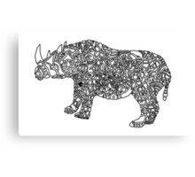 Abstract Rhino Black and White Canvas Print