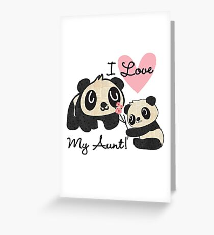 Kids Panda Bears I Love My Aunt Greeting Card