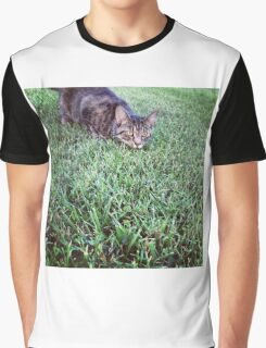 Cat on the Hunt Graphic T-Shirt