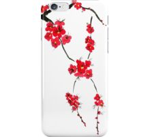 Red blossoming flowers of cherry iPhone Case/Skin