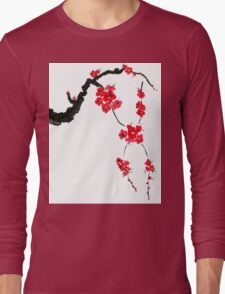 Red blossoming flowers of cherry Long Sleeve T-Shirt