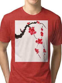 Red blossoming flowers of cherry Tri-blend T-Shirt