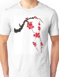 Red blossoming flowers of cherry Unisex T-Shirt