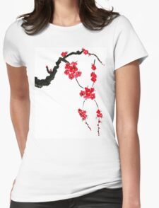 Red blossoming flowers of cherry Womens Fitted T-Shirt