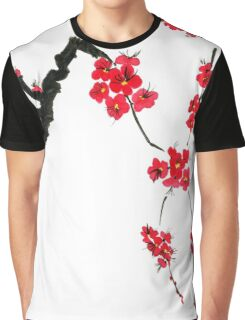 Red blossoming flowers of cherry Graphic T-Shirt