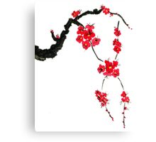 Red blossoming flowers of cherry Canvas Print