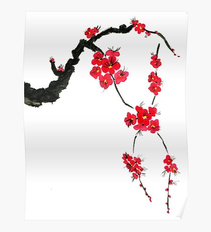 Red blossoming flowers of cherry Poster