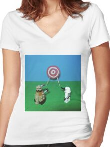 Intergalactic Shoot Off Women's Fitted V-Neck T-Shirt