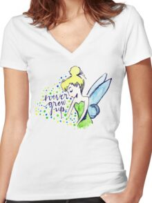 Never Grew Up Tink Colour Women's Fitted V-Neck T-Shirt
