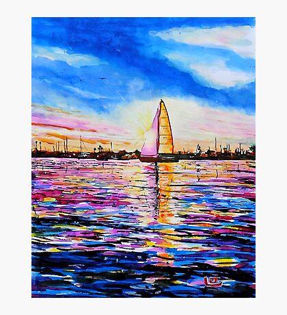 Sunset Sail Newport Beach Photographic Print