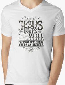 Jesus Loves You - White Mens V-Neck T-Shirt