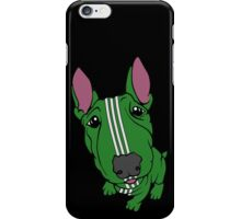 Sporty Bull Terrier Green and White iPhone Case/Skin