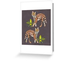 Jaunty Servals with Jungle Plants Greeting Card
