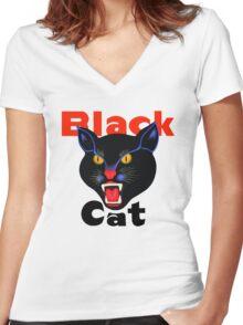 Black cat fireworks Women's Fitted V-Neck T-Shirt