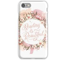 Reading is Beautiful floral wreath iPhone Case/Skin