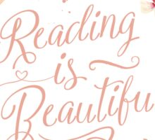 Reading is Beautiful floral wreath Sticker