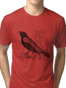 Vintage Rusty Crow Blackbird Bird Illustration Retro 1800s Black and White Image Tri-blend T-Shirt