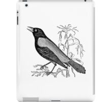 Vintage Rusty Crow Blackbird Bird Illustration Retro 1800s Black and White Image iPad Case/Skin