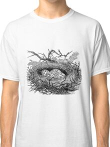 Vintage Bird Nest with Eggs Illustration Retro 1800s Black and White Birds Egg Image Classic T-Shirt