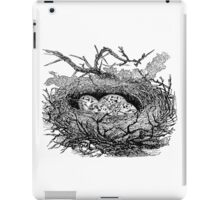 Vintage Bird Nest with Eggs Illustration Retro 1800s Black and White Birds Egg Image iPad Case/Skin