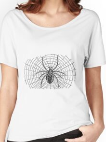 Vintage Halloween Spider and Web Illustration Retro 1800s Black and White Bug Spiders Image Women's Relaxed Fit T-Shirt