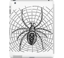 Vintage Halloween Spider and Web Illustration Retro 1800s Black and White Bug Spiders Image iPad Case/Skin
