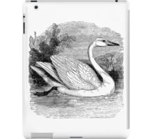 Vintage Mute Swan Bird Illustration Retro 1800s Black and White Swans Birds Image iPad Case/Skin