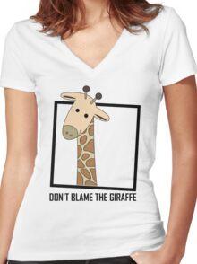 DON'T BLAME THE GIRAFFE Women's Fitted V-Neck T-Shirt