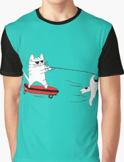 Skater Cat Graphic T-Shirt