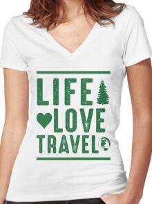 Life - Love - Travel Women's Fitted V-Neck T-Shirt