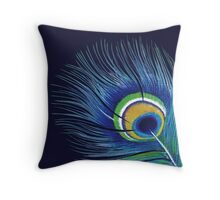 Blue Peacock Feather Throw Pillow