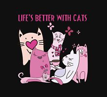 Cat Lover Life's Better With Cats Womens Fitted T-Shirt