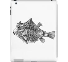Vintage Trunk Fish Illustration Retro 1800s Black and White Image iPad Case/Skin