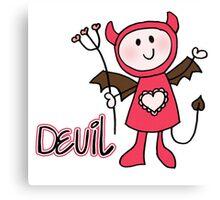 Stick Figure Devil Canvas Print