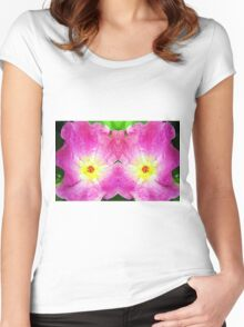 Pink Rose Bloom Mirrored  Women's Fitted Scoop T-Shirt