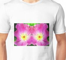 Pink Rose Bloom Mirrored  Unisex T-Shirt