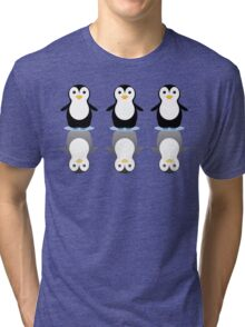THREE PENGUINS ON ICE Tri-blend T-Shirt