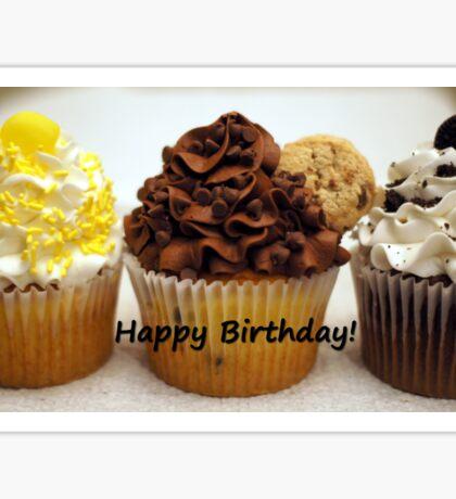 Three Cupcakes Happy Birthday Hooray! Sticker