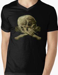 Masterpiece Skull Van Gogh Mens V-Neck T-Shirt