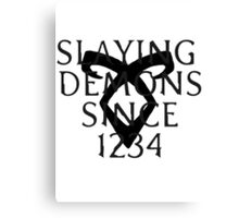 slaying demons Canvas Print