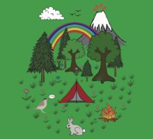 Cartoon Camping Scene One Piece - Short Sleeve