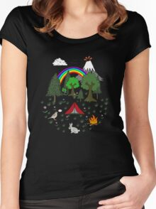 Cartoon Camping Scene Women's Fitted Scoop T-Shirt