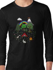 Cartoon Camping Scene Long Sleeve T-Shirt