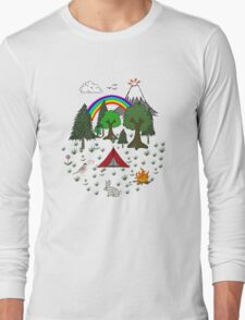 Cartoon Camping Scene Long Sleeve T-Shirt