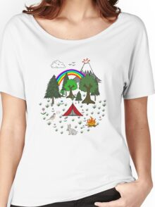 Cartoon Camping Scene Women's Relaxed Fit T-Shirt