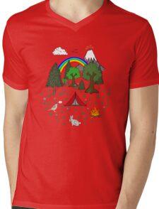 Cartoon Camping Scene Mens V-Neck T-Shirt