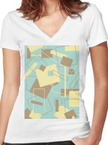 60's Style in Fashion Colors Var 6 Women's Fitted V-Neck T-Shirt