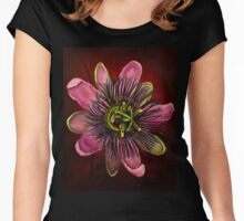 Painted Passion flower Women's Fitted Scoop T-Shirt